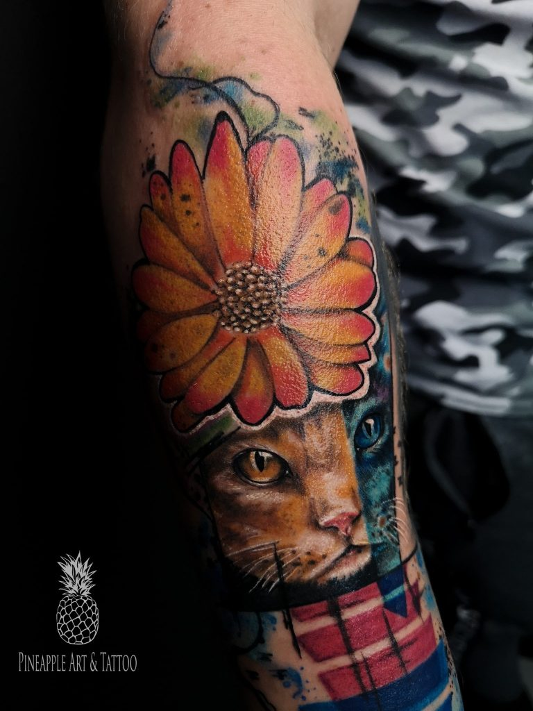 Abstract cat portrait tattoo