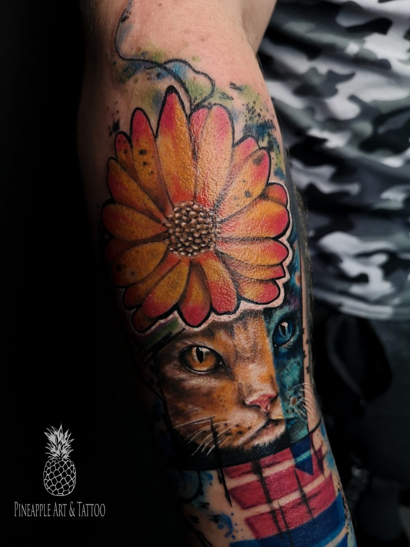 Abstract cat portrait tattoo