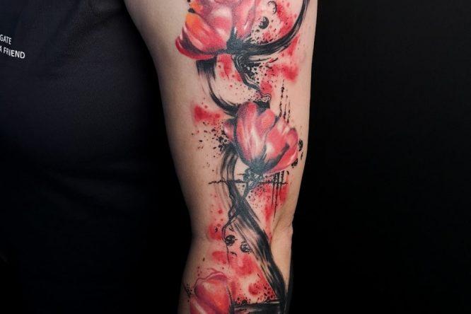 Poppy trash polka tattoo