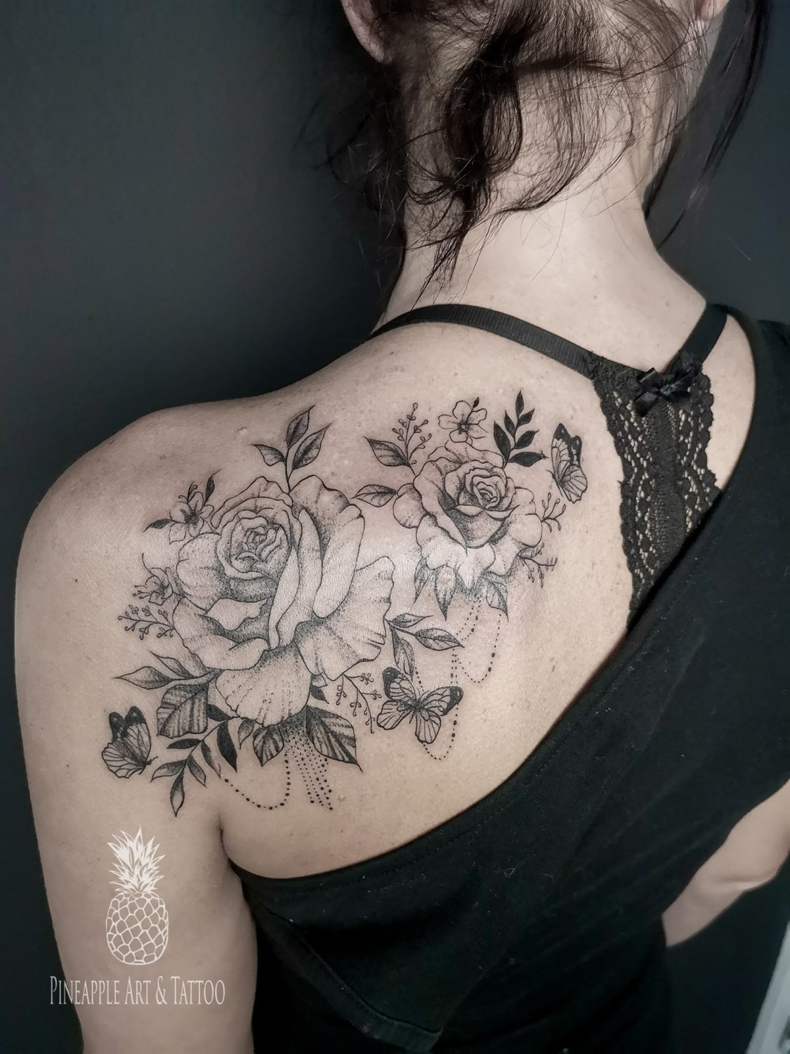 Dotted flowers tattoo