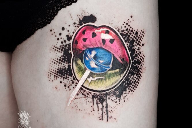 candy lips tattoo