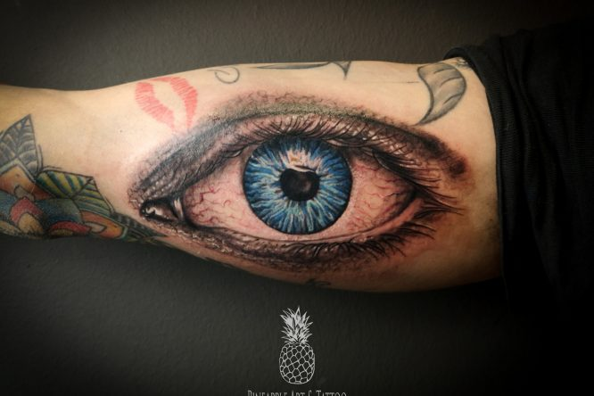 Realistic eye tattoo Pineapple tattoo Maribor Slovenia; Tattoo galerija