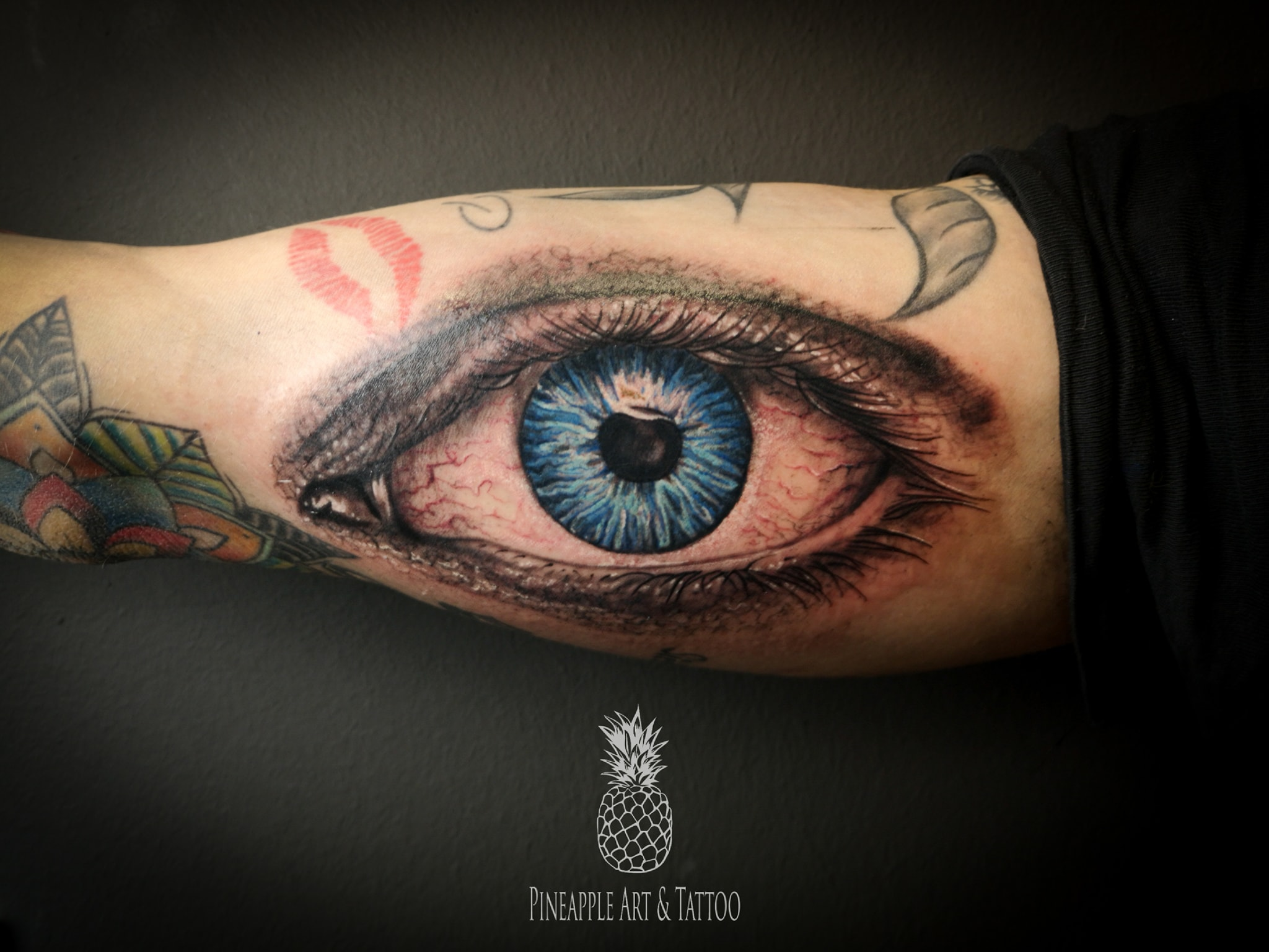 Realistic eye tattoo Pineapple tattoo Maribor Slovenia; Tattoo galerija