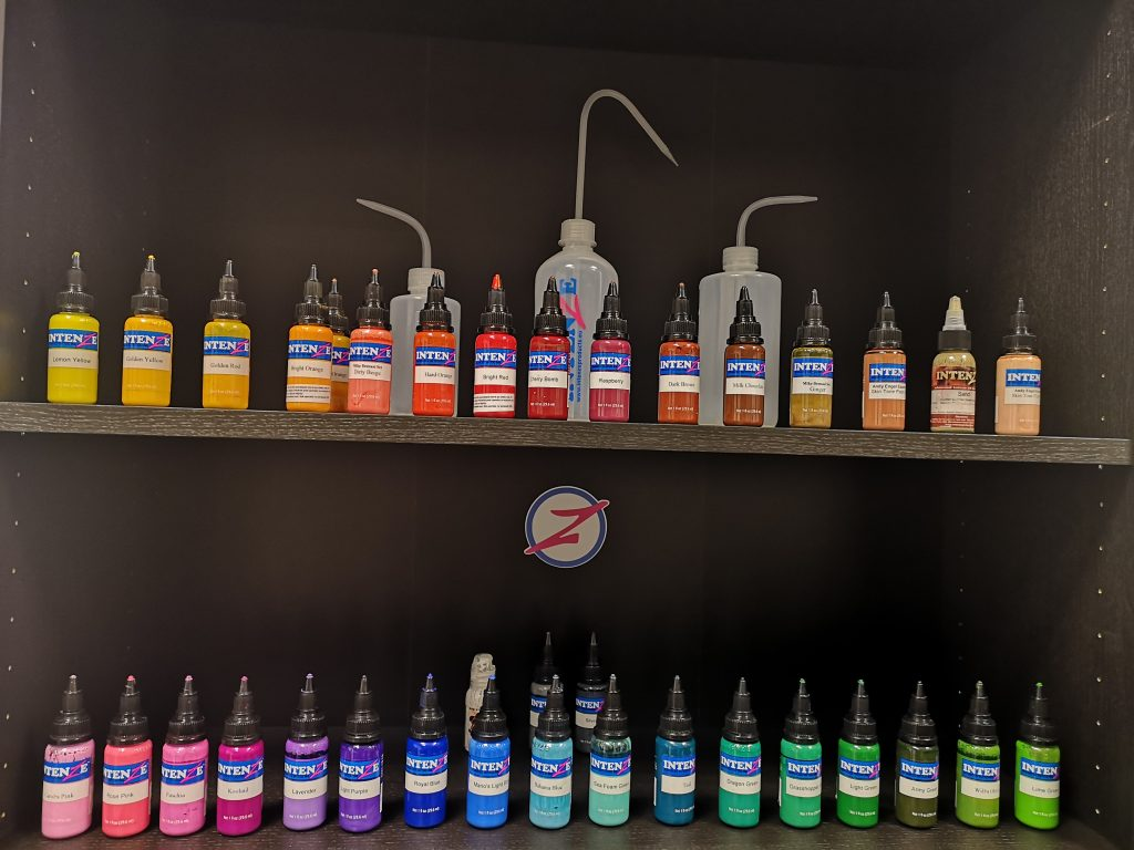 Color palette of tattoo ink in Pineapple tattoo Maribor