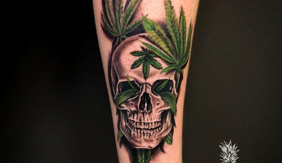 Cannabis skull tattoo