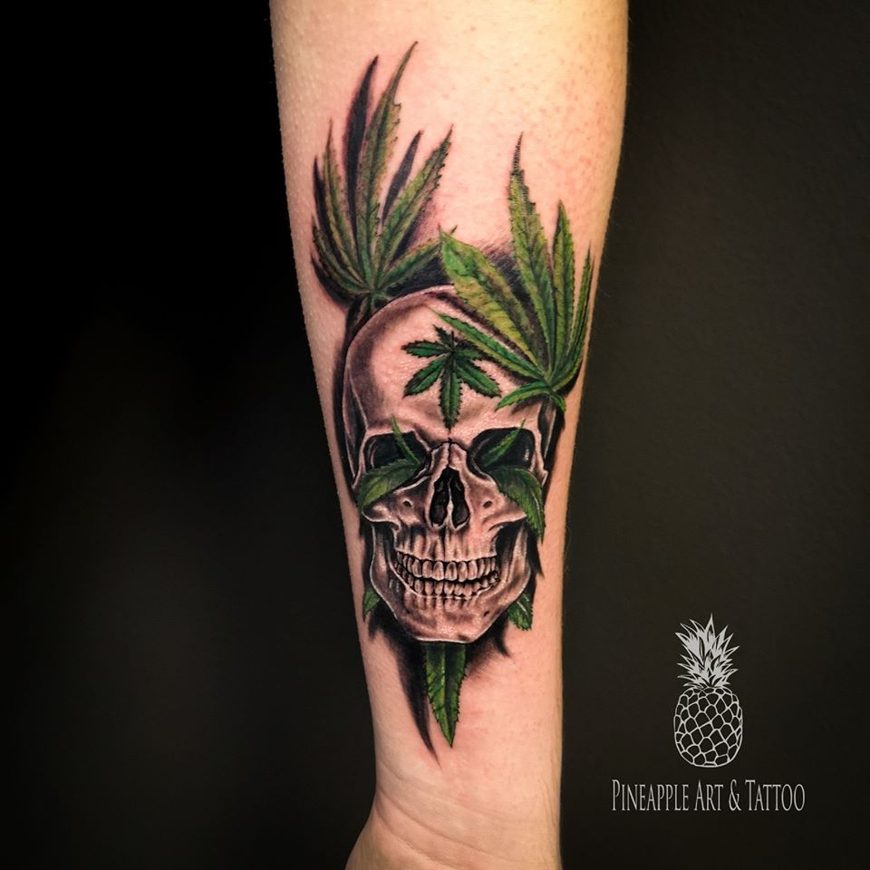 Cannabis skull tattoo 1