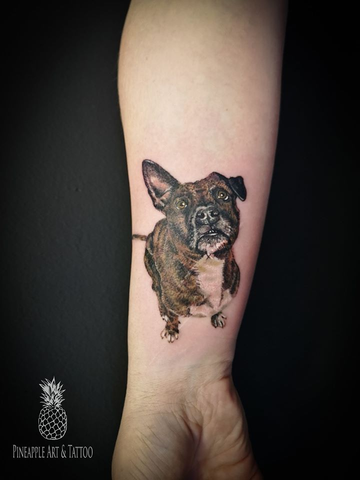 Small realistic dog tattoo 1