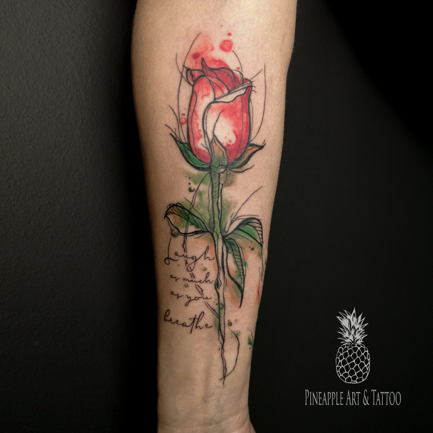 Watercolor rose Pineapple tattoo Maribor
