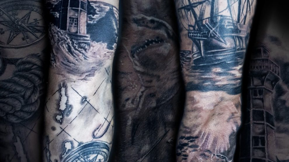 Nautical sleeve tattoo