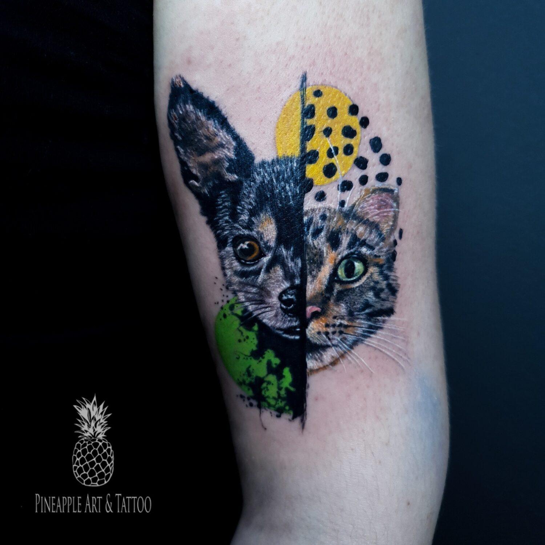 dog cat tattoo