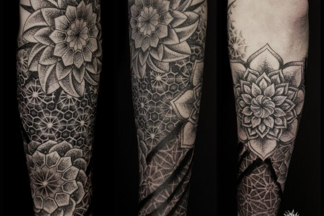 dotwork half sleeve tattoo