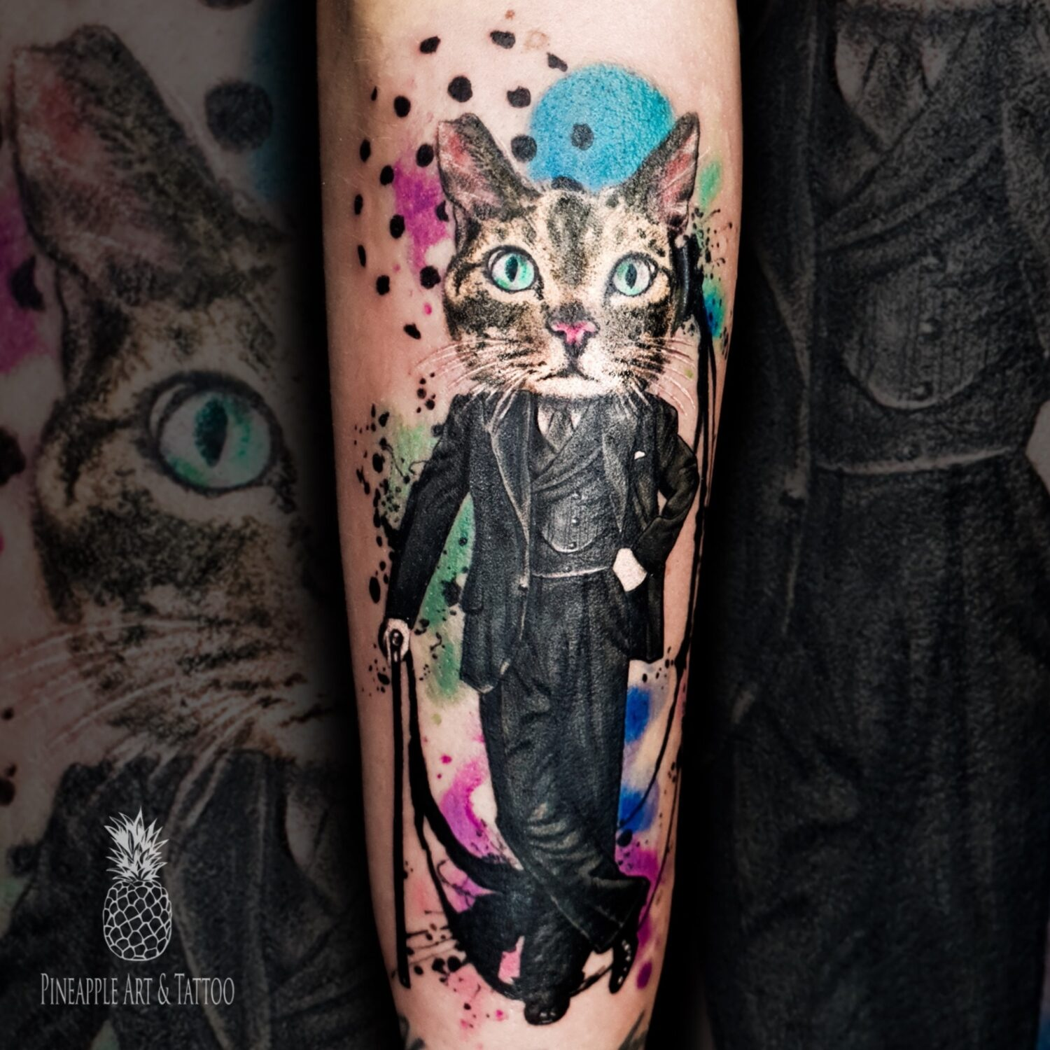 The gentleman colorful cat tattoo