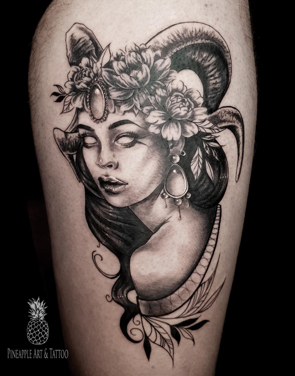 Mystical woman BW tattoo