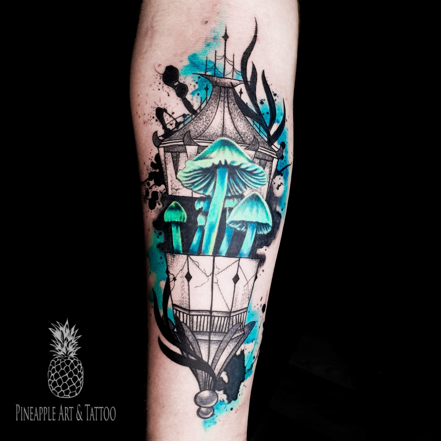 Witchy lantern and mushrooms tattoo